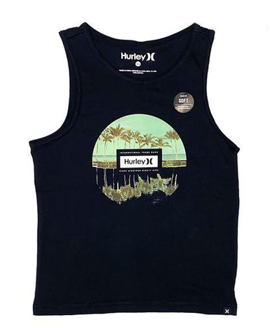HURLEY PRM TROPIC REFLECTION BOYS SINGLET - BLACK
