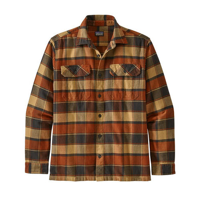 PATAGONIA M'S L/S FJORD FLANNEL SHIRT - PLOTS: BURNISHED RED