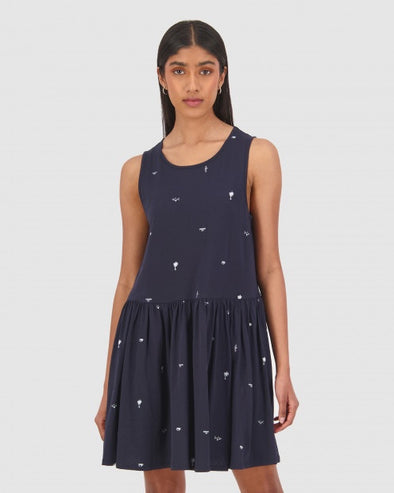 HUFFER DIMENSION AMY DRESS - NAVY/WHITE