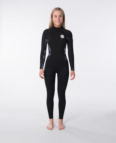 RIP CURL WMNS. DAWN PATROL 4.3MMGB BACK ZIP STEAMER - 0097 BLACK/GREY