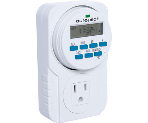 Autopilot 7 Grounded Digital Programmable Timer 1-8 Second On/Off Cycles 1725W, 15A