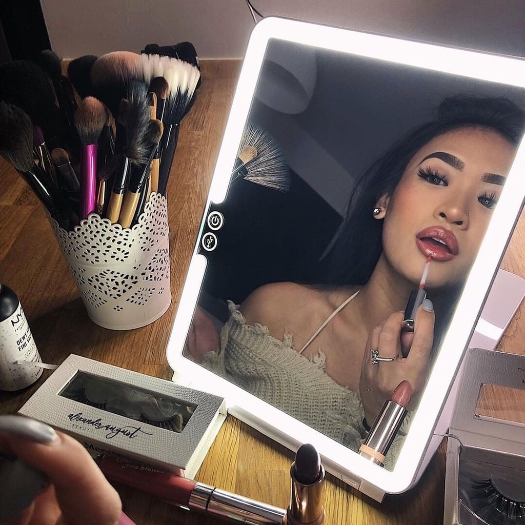 Portable Travel Makeup Mirror LED Light