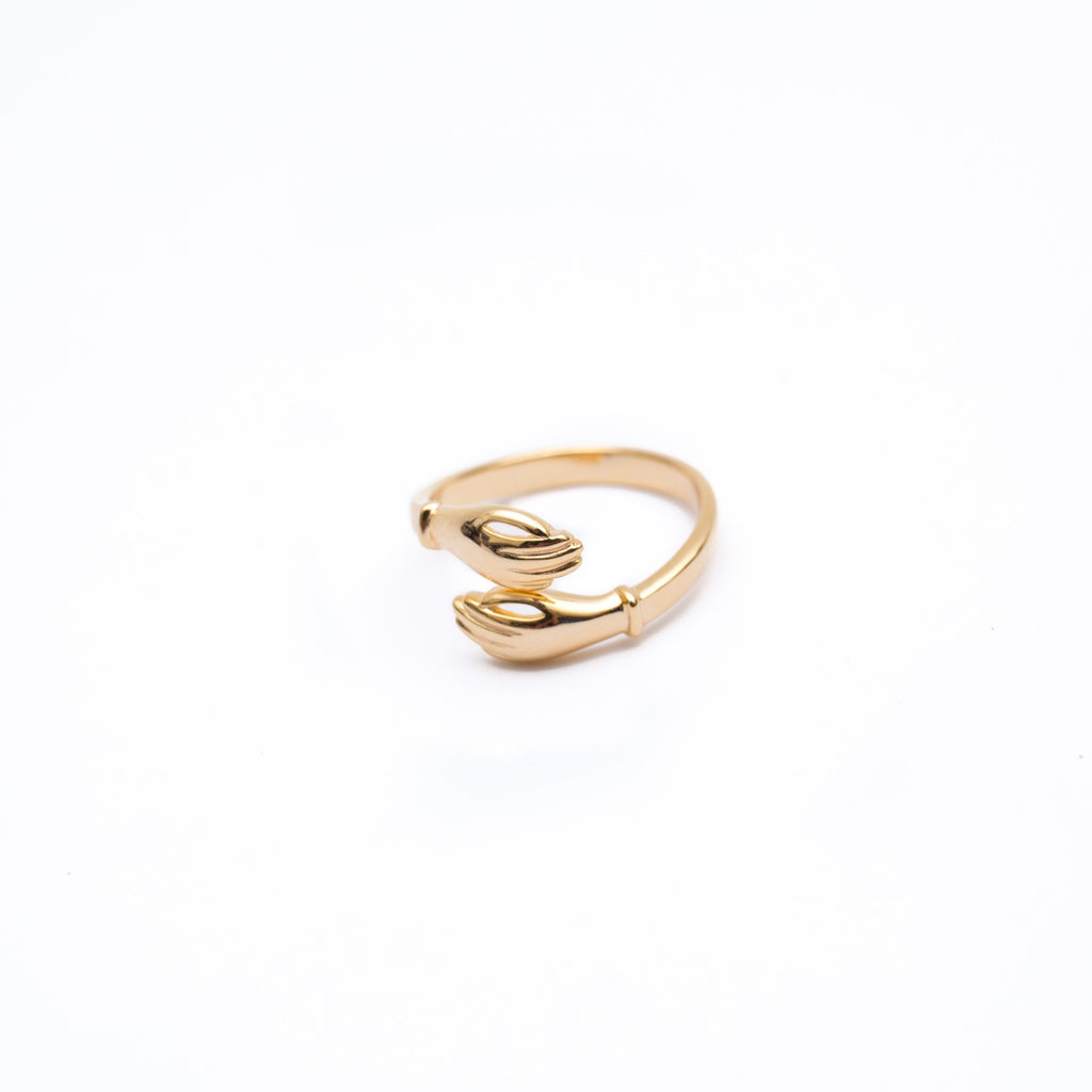Gold Hug Hands Ring