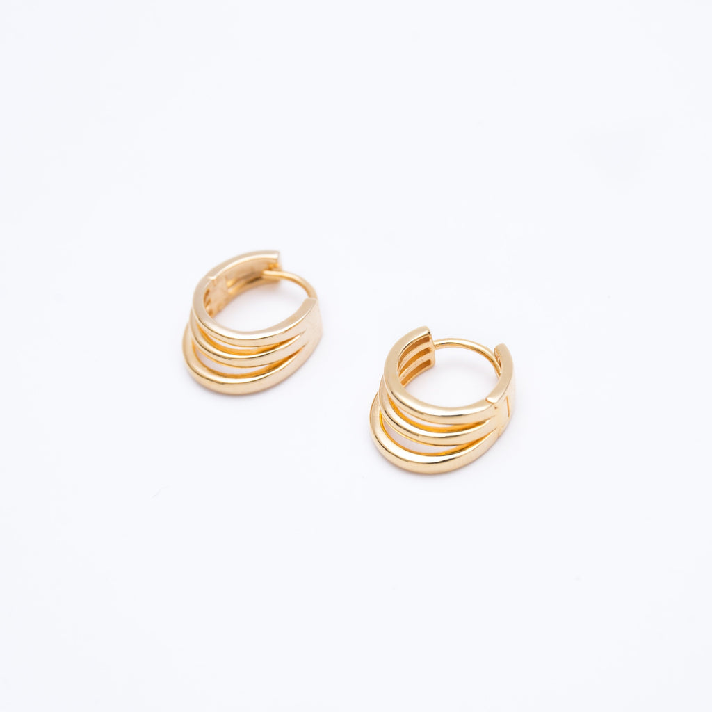 Triple Hoop Gold Huggies Earrings