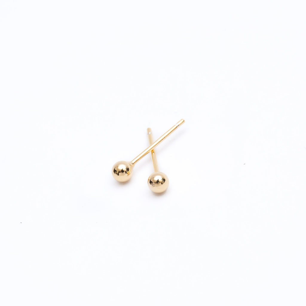 Gold Sphere Stud Earrings