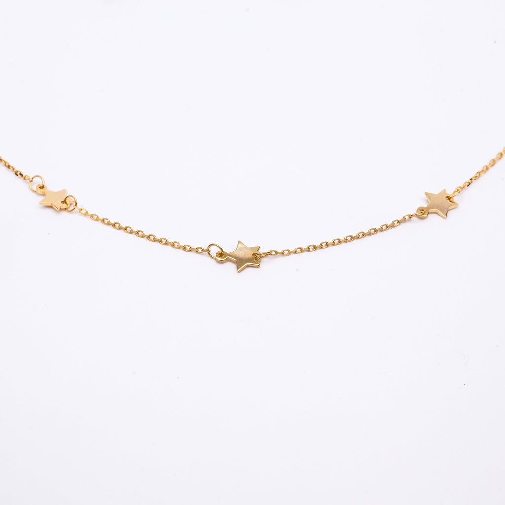 Gold Floating Star Necklace Choker