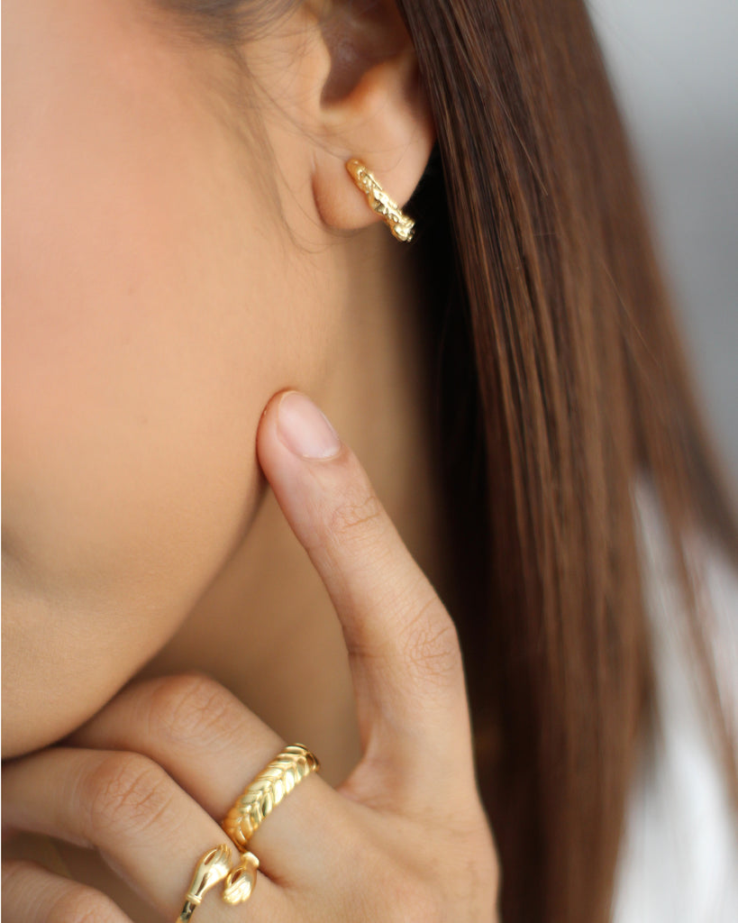 Gold Crepe Textured Hoop Earrings