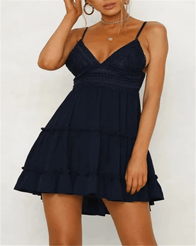 Standing Waiting Mini Lace Mini Dress