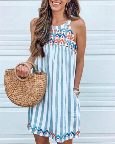 Stripe Print Embroidery Crew Neck Dress