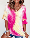 V Neck Tie Dye Top