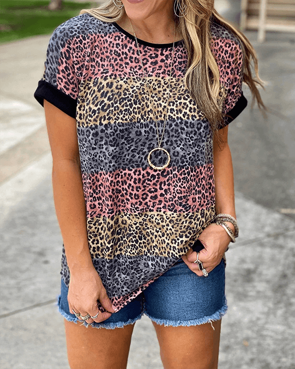 [50% OFF TODAY & FREE SHIPPING]Multi Stripe Leopard Print Top