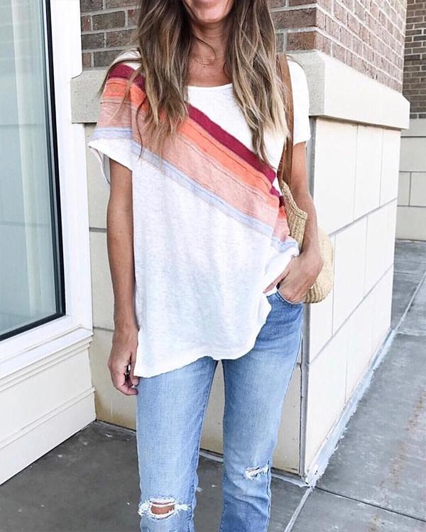 Multi Color Patchwork Casual Tee