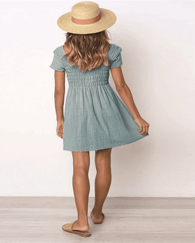 Square Neck Plain Short Sleeve Skater Dresses