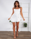 White Ruffles Print Summer Dress