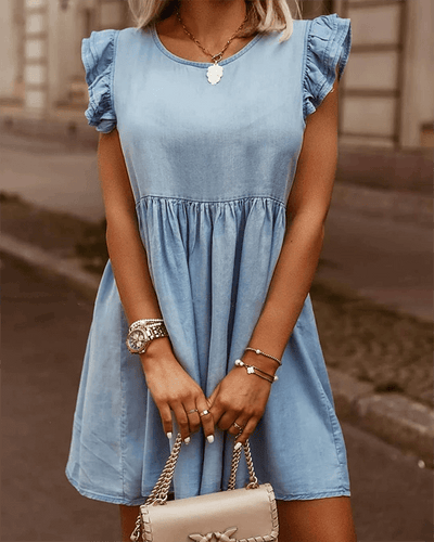Ruffle Cuffs Denim Dress