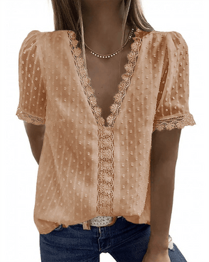 [50% OFF TODAY & FREE SHIPPING]V Neck Lace Blouse (6 Colors)