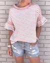 [50% OFF TODAY & FREE SHIPPING]Pink Striped Ruffle Sleeves T-shirt