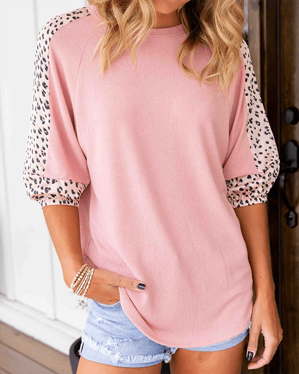 Pink O Neck Patch Leopard Top