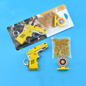 All Metal Mini Folding Rubber Band Gun Outdoor Military Sport Toy Keychain - hifivestore-c