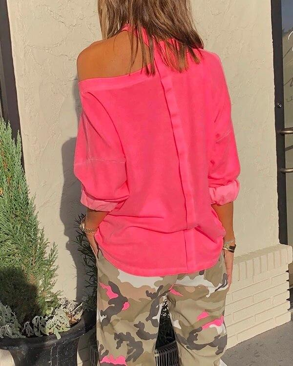 SPELESY NEON CUT OUT SWEATSHIRT - pinksaviorband