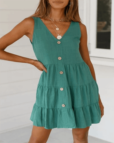 Pleated Design Mini A Line Dress