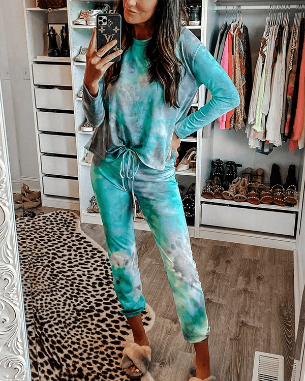 Blue Tie Dye Casual Suits