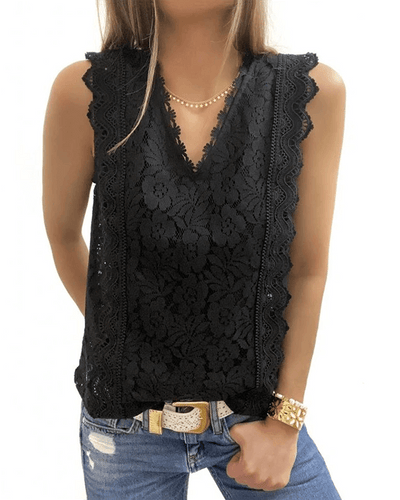 [50% OFF Today & FREE SHIPPING]Lace V Neck Tunic (2 Colors)