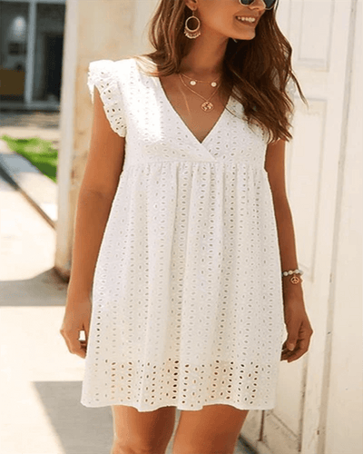 Hollow V-Neck Cap Sleeve A-Line High Waist Dress