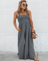 Stretchy Smocked Strap Jumpsuit