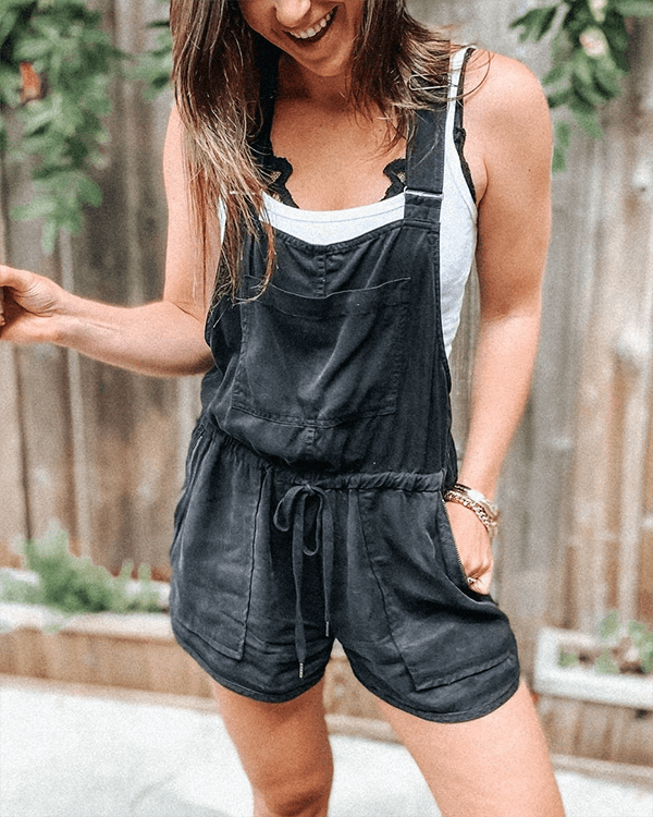 Black Drawstring Lounge Rompers
