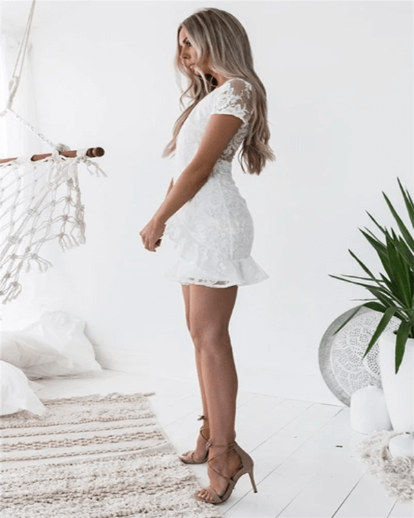 White Dress Short Sleeve And Laced Back