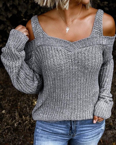 [50% OFF TODAY & FREE SHIPPING]Solid Long Sleeve Cut-out Sweater