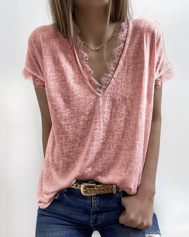 [50% OFF TODAY & FREE SHIPPING]V-Neck Lace Cozy Top (5 Colors)