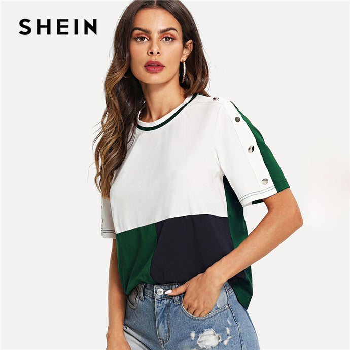 52c4597757 SHEIN Multicolor Colorblock Buttoned Sleeve Cut and Sew T-shirt Short  Sleeve Round Neck 2019