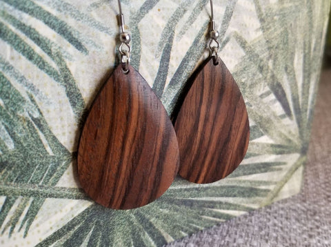 Solid Polished English Walnut Teardrop Earrings