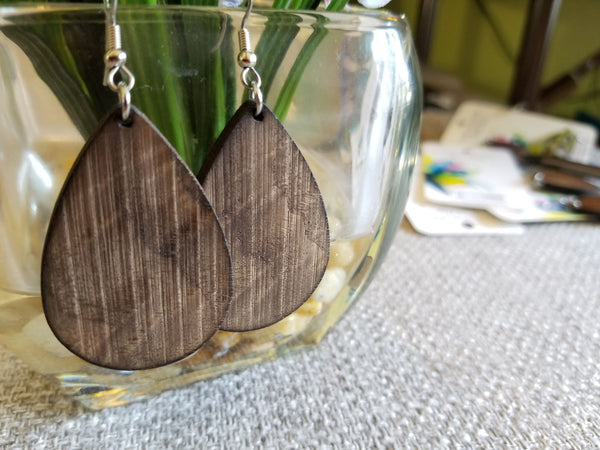 Rustic Walnut Teardrop Earrings