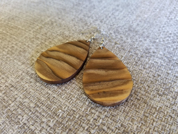 Rustic Pine Teardrop Earrings