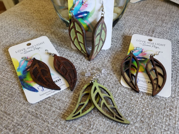 Walnut Leaf Earrings - Painted and/or Laser Cut/Engraved