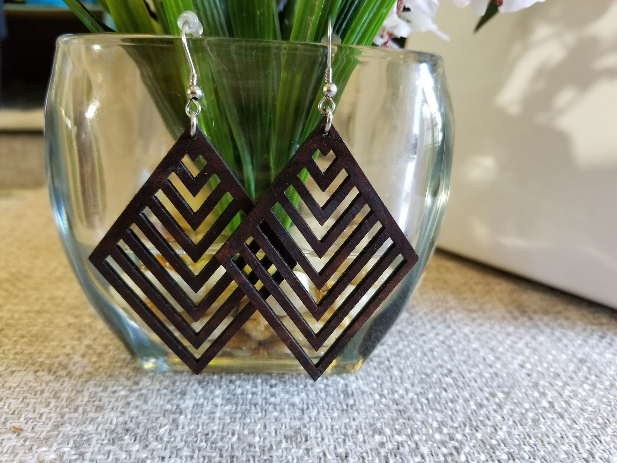 Geometric Diamond Chevron Walnut Earrings