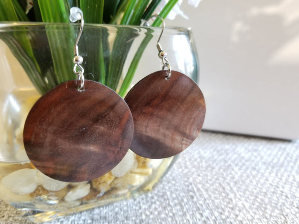 Solid Polished Walnut Circle Earrings