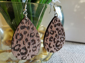 Teardrop Cheetah/Leopard Print on Lacewood Earrings