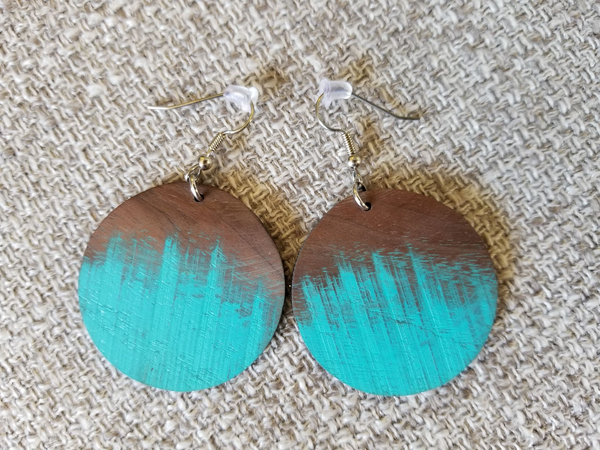 Painted Walnut Circle Earrings