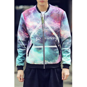Stylish Stand Collar Loose Fit Triangle Starry Sky Printed Long Sleeve Polyester Jacket For Men (COLORMIX)
