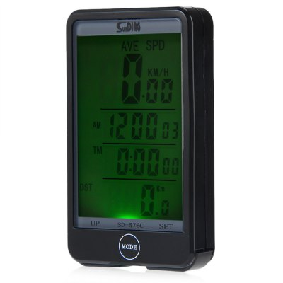 Sunding SD - 576C Waterproof Large Screen Mode Touch Wireless Bike Computer Speedometer with LCD Backlight