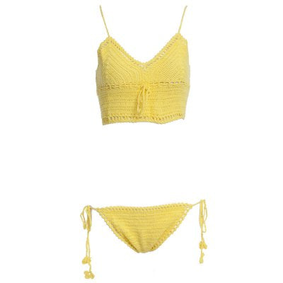 Sexy Solid Color Knited Vest Type Women Bikini Set (YELLOW)