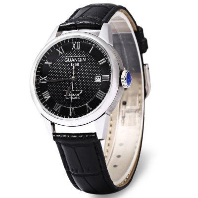 GUANQIN GQ008815 Sapphire Mirror Men Genuine Leather Mechanical Watch Luxury Waterproof 100m Wristwatches