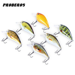 Proberos 6pcs 6 Color Fishing Crankbait Hook Lure Bait