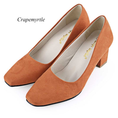 Crapemyrtle Casual Solid Color Square Toe Slip On Ladies Rough Heels Shoes