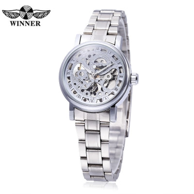 Winner F120524 Female Auto Mechanical Watch Luminous Pointer Hollow-out Back Cover Wristwatch
