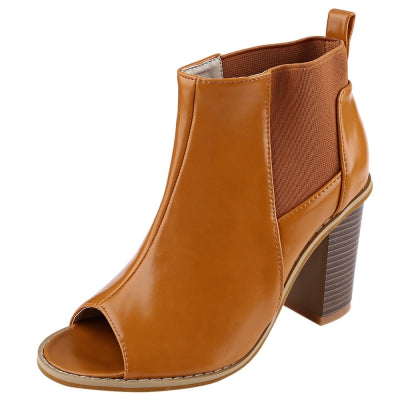 Vintage Elastic Band Open Toe Slip On Ladies Thick Heel Ankle Boots